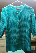 Jones Wear Cable Knit Heavy Short 1/2 Sleeve Cardigan Sweater, Womens Size Large