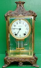 ART-DECO SETH THOMAS orné 8 JOUR QUATRE VERRE CRISTAL Lève Horloge de cheminée