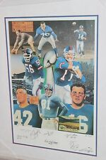 New York NY GIANTS ALL TIME GREATS signed framed Autographed litho Gifford Simms