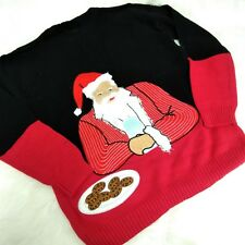 Blizzard Bay Men's Ugly Christmas Sweater, Black Red Cookies Santa Small