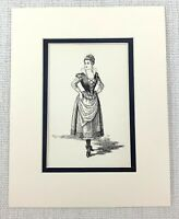1889 Antico Stampa Maria Cameriera A Olivia Dodicesimo Notte Costume Shakespeare