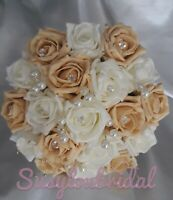 Wedding Bouquet Gold And Ivory With Pearls Posy Flowers Bridesmaid Buttonholes