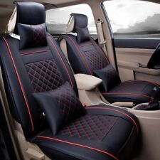 Deluxe Edition PU Leather Car Front Seat Cover Protector Cushion Mat w/ Pillows