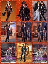 Harley Davidson First 8 Barbie & Ken Dolls & Both Fat Boy Motorcycles Flames #2