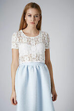 Topshop Short Sleeve Cropped Floral Tops & Shirts for Women