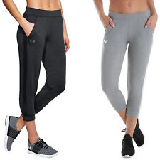 Under Armour Ladies Featherweight Crop Pant UA Gym Cotton Training Jogger Bottom