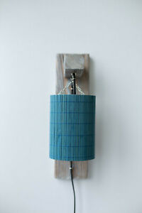 Wood wall sconce plug-in eco-friendly bedside lighting blue bamboo lampshade