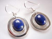 Lapis Lazuli in Hoops 925 Sterling Silver Dangle Oval Earrings