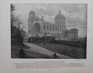 1896 London Aufdruck + Text St.JOSEPH'S Retreat Von Wasserfluss Park Highgate