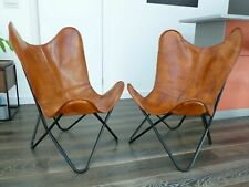 2PCS Home Décor Living Room Ten Classic Handmade Leather Butterfly Relax Chair