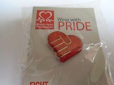 British Heart  Foundation Red Sparkle Clasped Hands Heart Pin Badge BNIP