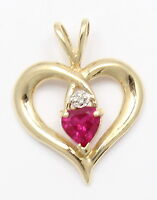 10k Yellow Gold Diamond and Red Stone Heart Necklace Pendant