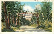 Kalispell Montana~Kiwanis Lane Rustic Welcome  Arch~1931 Postcard
