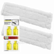 2 x KARCHER WV75 Window Vac Vacuum Cloths Covers Glass Pads + Cleaning Capsules