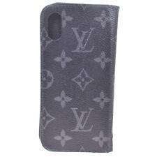 Auth Louis Vuitton Monogram Eclipse Leather Phone Flip Case For IPhone X 08FB714