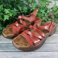 Dansko Platform Sandal • Red Brown Leather Strappy Slingback • EU 42 / US 10