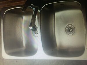 KITCHEN  STAINLESS STEEL SINK OR TROUGH WITH EXTENDER MIXER TAP