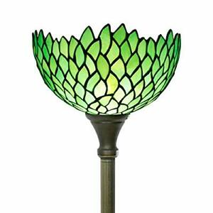 Tiffany Floor Lamp Torchiere Style Up Lighting W12H66 Inch Green Stained Glas...
