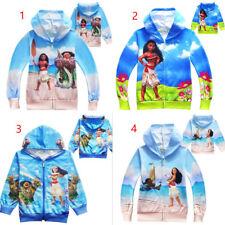 Fall Spring Girls Kids Moana Hoodies Jacket Outerwear Coat Cosplay Costume