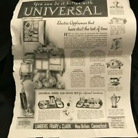 Antique Vintage Saturday Evening Post Universal Electric Appliance Ad 1935