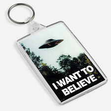 X-Files I Want to Believe Poster in a Keyring & Bag Tag Gift UFO Aliens Mulder