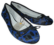 Gap NWT Womens Blue Leopard Animal Leather Loafer Ballet Style Shoes 6 $50