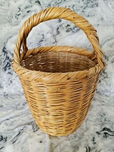 Vintage Round Willow Cane Deep Wicker Floor Laundry Storage Kindling Basket Boho