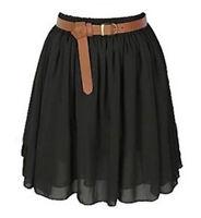 Black Chiffon Women Girl Short Mini Dress Skirt Pleated Retro Elastic Waist Sexy