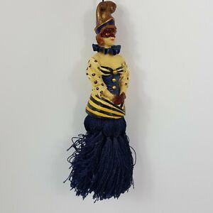 Ceramic Hanging Tassel Doll Masked Marti Gras Blue Vintage Hanging