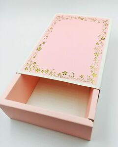 Cute Pink Bakery Box   Gold Floral Reef   for Macaron/Cookie Gift Party   6 cts