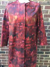 COS Red Black Streak Pattern Full Zip Jacket Coat Sz 34