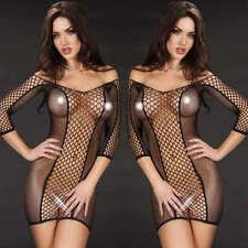 Black Seamless Fence Fishnet Chemise Mini Dress Bodystocking Lingerie 6-12