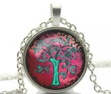 Silver Tone Glass Cabochon Red/Green Tree Of Life Pendant Chain Necklace