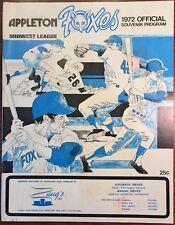 Vintage 1972 Appleton Foxes Souvenir Program Goodland Field Chicago White Sox