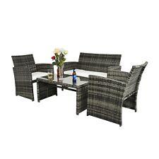 4 PCS Outdoor Patio Sofa Rattan Wicker Sectional Furniture Set Garden Cushioned