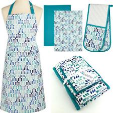 Teal Leaf Kitchen Textile Set - Apron, Oven Glove & 2 Tea Towels - Gift Set