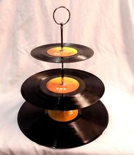 Cup cake stand - 3 tier vinyl records ORANGE and YELLOW
