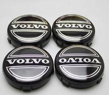 VOLVO BLACK CENTRE CAPS X 4 SET TYRE ALLOYS 64mm C30 C70 S40 S60 V50 V60 V70 S80