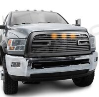 Big Horn 2+3xLED Matte Black Packaged Grille+Shell for 10-18 Dodge RAM