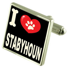 I Love My Dog Sterling Silver 925 Cufflinks Stabyhoun