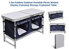Folding Outdoor Portable Picnic Market Display Camping Storage Cupboard Table