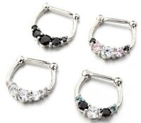 1pc Septum Clicker 5 GEMS 316L Surgical Steel 16g Nose Ring Gem Crystal 4 Colors