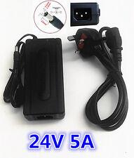 24V 5A AC DC cargador adaptador de fuente de alimentación conmutada Escritorio Psu UK 3 PIN ENCHUFE CE