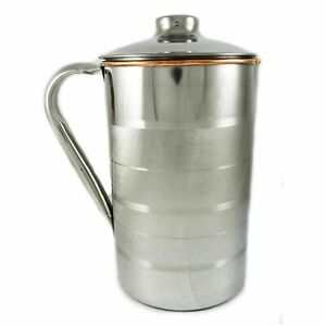 Handmade Silver Polished 1000ml Pure Copper Water Pitcher Jug Health Benefits