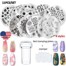 11Pcs/Set Nail Art Stamping Plates Image Flower Geometric Stamper Scraper Tips