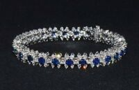 18Ct Round Cut Sapphire Tennis Statement Bracelet 14K White Gold Finish