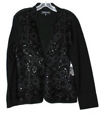 Jones New York Black w/ Sequins Wool Womens Cardigan Sweater Sz S MSRP $149 NWT