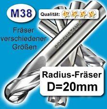Radius-Fräser R10x150mm, D=20mm, Schaftfräser, M38, vergl. HSSE, HSS-E