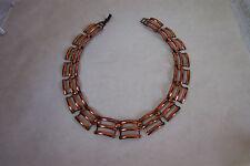 """Vintage COPPER CHOKER Necklace 14"""" Modernist Tri-Bar Links Unmarked Rebajes?"""