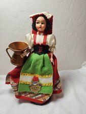 Vintage Doll Italy Peasant Roma Lazio Souvenir  Felt EROS EUC